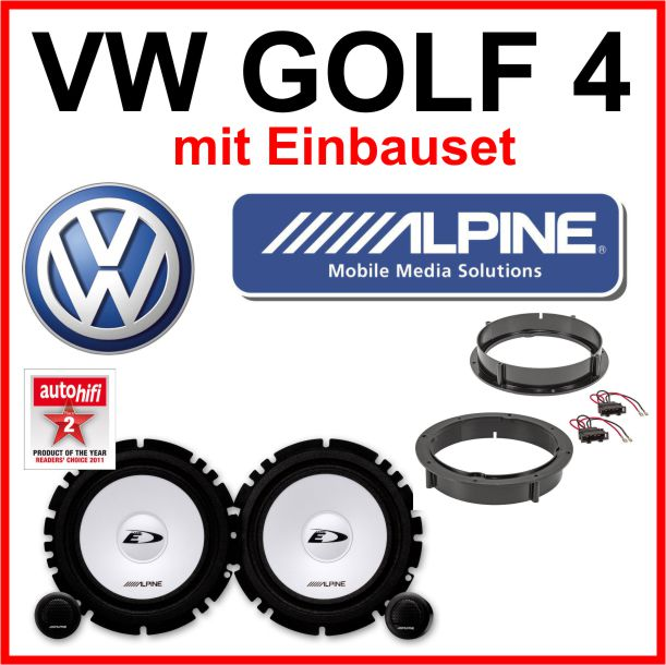 alpine haut parleurs kit pour vw golf 4 haut parleur portes avant arri re. Black Bedroom Furniture Sets. Home Design Ideas